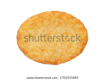 Potato patty or hash brown oval-shaped isolated on white background, top view Stock photo ©