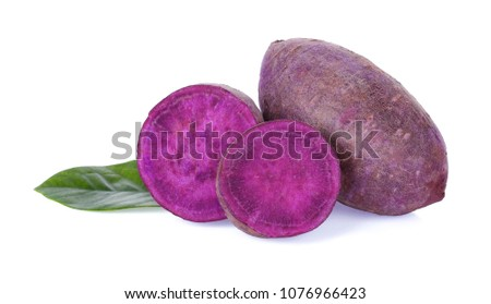 potato purple sweet on white background