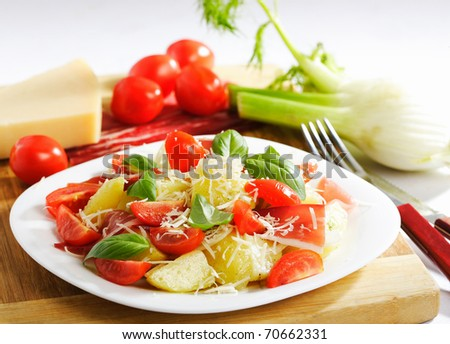 Potato salad in the soup-plate with fork