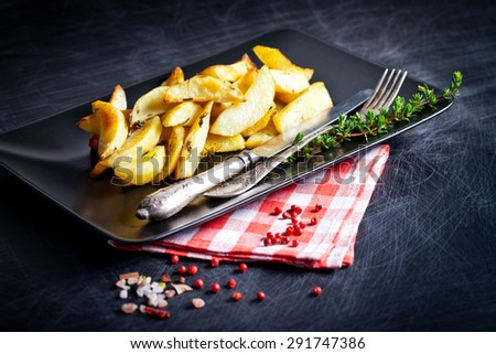 Potato wedges with species on serving plate