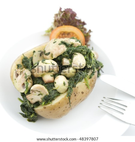 Potato with mushrooms and spinach