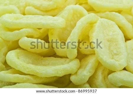 Potatoes chips for appetizer extreme close up