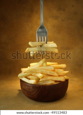 Potatoes fried in oil