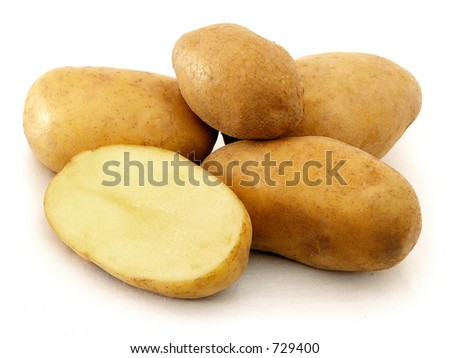 Potatoes, one of them cutted in half.
