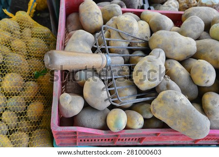 potatoes raw vegetables food for sale at farmers market. Background.
