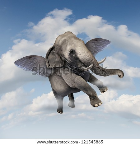 Potential and possibilities concept with a realistic elephant flying in the air using wings as a business symbol of achievement and belief in your abilities to succeed in upward growth.