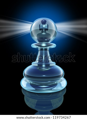 Potential inside and the power within to transform into a great leader by looking inside as a transparent glass chess pawn with a king piece hidden at the core with a glowing light on black.