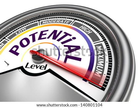potential level conceptual meter, isolated on white background ストックフォト ©