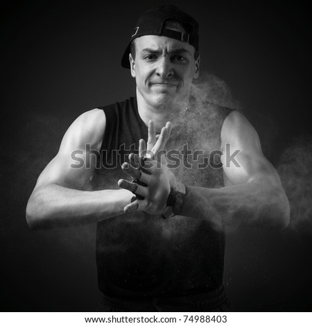 Poto of athlete with strong body - stock photo