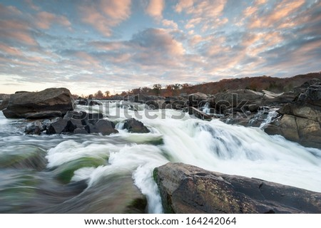 Potomac River Cascades Great Falls Park Sunrise Skies