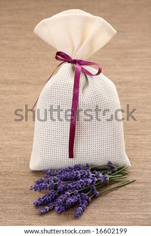 potpourri bag and some fresh lavender flowers