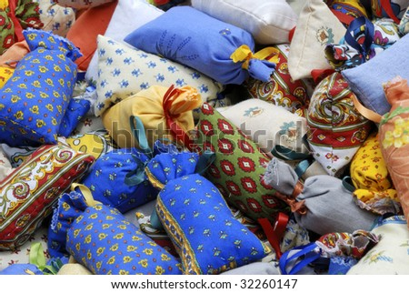 potpourri of colored bags with dry lavender flowers