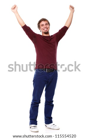 Potrait of young excited guy over white background
