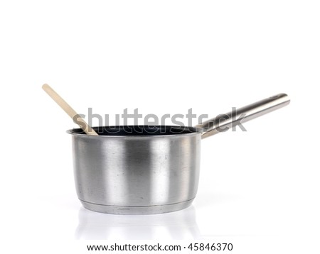 Pots and pans isolated against a white background - stock photo