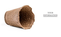 Pots for seedlings of ecological cardboard. Peat seed pots. Pots on isolated white background