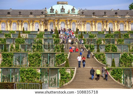 POTSDAM GERMANY MAY 22: Sanssouci is the name of the former summer palace of Frederick the Great, King of Prussia, in Potsdam, near Berlin, Germany on May 22 2010