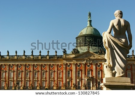 POTSDAM, GERMANY - OCTOBER 26: The Sanssouci palace in Potsdam, Germany. October 26, 2006 Potsdam, Germany. The palace is considered the major work of Rococo architecture in Germany.