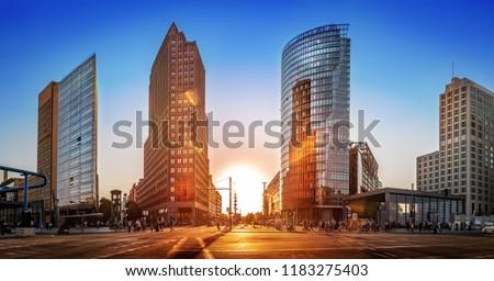 potsdamer platz at sunset, berlin Stock foto ©