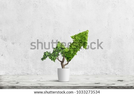 Potted green plant grows up in arrow shape over blue background. Concept business image #1033273534
