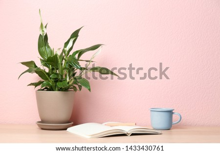 Potted peace lily plant, cup and notebook on wooden table near color wall. Space for text #1433430761