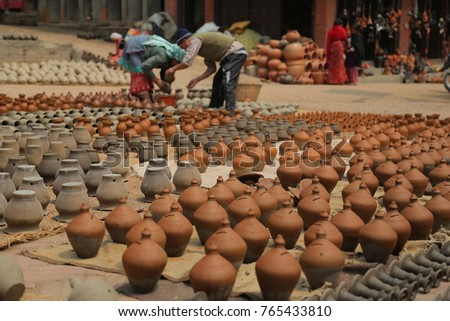 Potters' Square in Bhaktapur, Nepal
