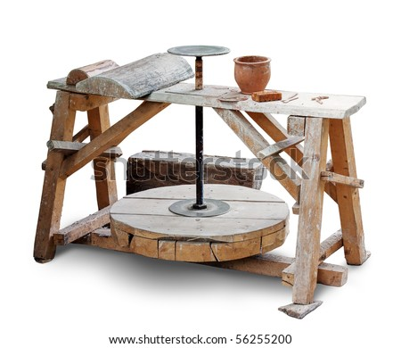 Potters wheel isolated over white. Clipping path included.