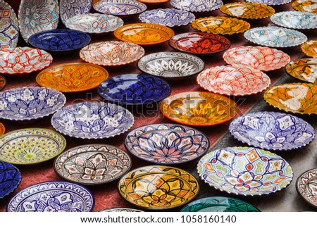 pottery clay plates decorated with colours
