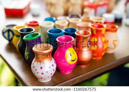 pottery, decoration, paints, multicolored