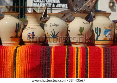 Pottery for sale at an outdoor market; Old Town; San Diego, California