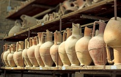 Pottery issued from excavations of Pompeii, Italy