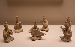 Pottery Musician Ensemble, on Beijing, CHINA.  Ancient Chinese Tang Dynasty(618-907 AD), Unearthed at Xi'an, Shaanxi Province, 1955.