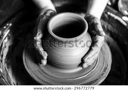 pottery  potter  human hand.