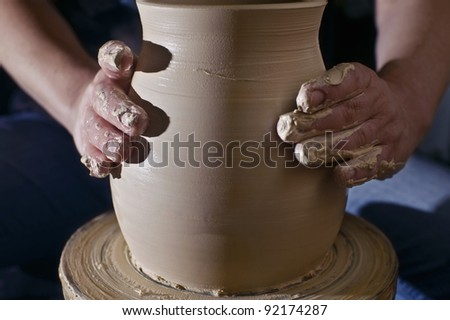 Pottery wheel and hands