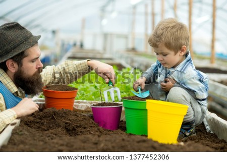 potting flowers. father and son potting flowers. potting flowers with child and its father. father and little boy potting flowers in greenhouse. planting a family tree #1377452306