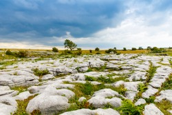 Poulnabrone Dolmen in Ireland, Uk. in Burren, county Clare. Period of the Neolithic with spectacular landscape. Exposed karst limestone bedrock at the Burren National Park. Rough Irish nature.