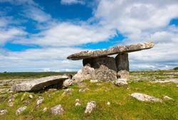 Poulnabrone dolmen in the Burren area of County Clare, Republic of Ireland.