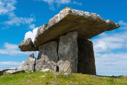 Poulnabrone dolmen in the Burren area of County Clare, Republic of Ireland.