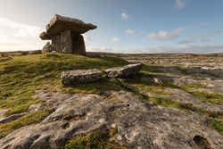 Poulnabrone dolmen is a neolotic portal tomb located in the Burren, County Clare, Ireland.