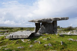Poulnabrone dolmen is an unusually large dolmen or portal tomb located in the Burren, County Clare, Ireland.