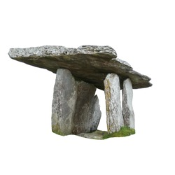 Poulnabrone dolmen isolated on white background. It is large dolmen or portal tomb located in the Burren, County Clare, Ireland.