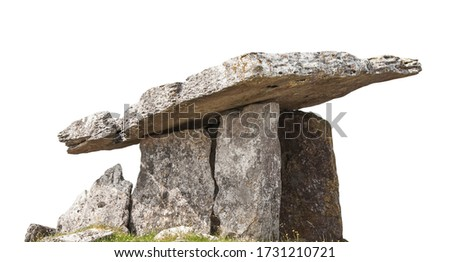Poulnabrone dolmen isolated on white background. It is large dolmen or portal tomb located in the Burren, County Clare, Ireland.  Stock photo ©