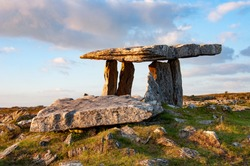 Poulnabrone dolmen located in the Burren, County Clare.