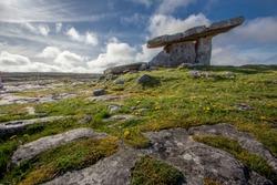 Poulnabrone Dolmen Tomb, Burren, Co.Clare, Ireland.