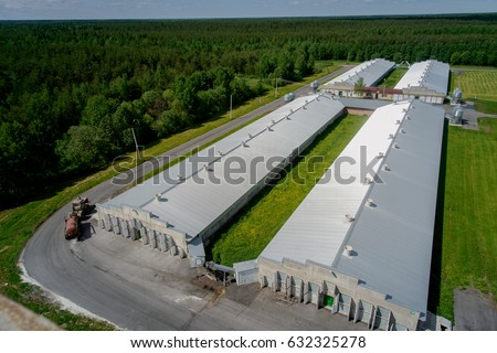 Poultry farm buildings and tractor