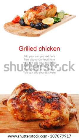 poultry : fresh grilled whole chicken on wooden cutting board isolated over white background
