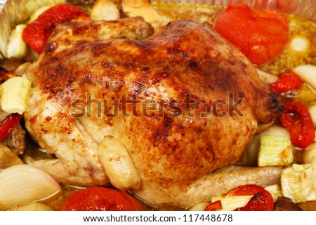 Poultry: Roast Chicken with vegetables - stock photo