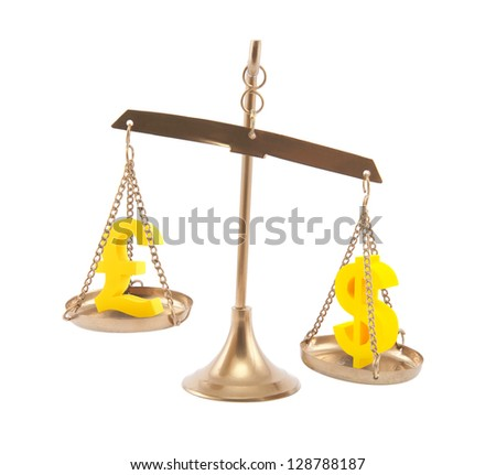 Pound and Dollar signs on scales isolated on white