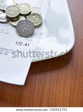 Pound coins and bill on plate, close-up