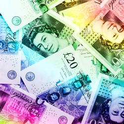 Pound currency background, Currency of the United Kingdom - Rainbow