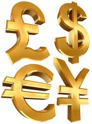pound dollar euro and yen golden symbols isolated on white background